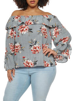 Plus Size Striped Floral Off the Shoulder Top - 1803051060064