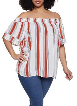 Plus Size Striped Gauze Knit Top - 1803051060076