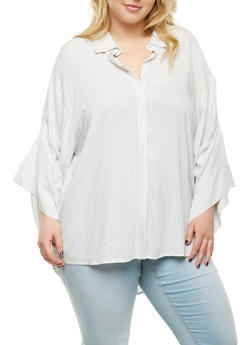 Plus Size Striped Button Front Tunic Top - 1803051060081