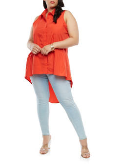 Plus Size Sleeveless High Low Shirt - 1803051060082