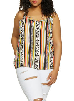 Plus Size Printed Caged Neck Cami - 1803051060297
