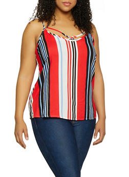 Plus Size Striped Caged Cami - 1803051060298