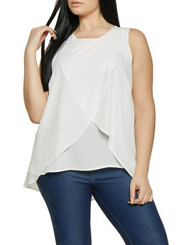 Plus Size Sleeveless Split Overlay Top - 1803051060399
