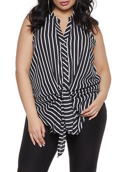 Plus Size Striped Button Front Top - 1803051060402
