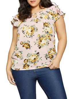 Plus Size Floral Flutter Sleeve Top - 1803051060475