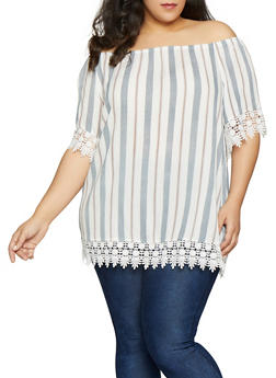 2db2790f8998d Plus Size Striped Off the Shoulder Top