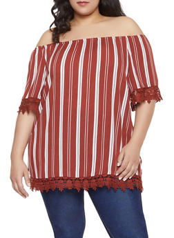 Plus Size Striped Off the Shoulder Top | 1803051060552 - 1803051060552