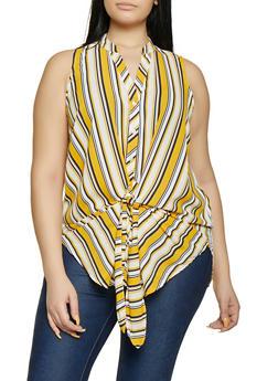 Plus Size Striped Mandarin Collar Shirt - 1803051060638