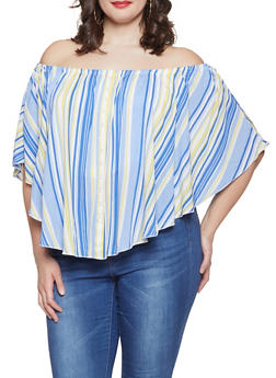 0af5e49847592 Plus Size Striped Off the Shoulder Ruffled Top - 1803051060646