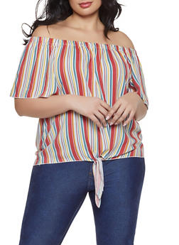 Plus Size Striped Tie Front Off the Shoulder Top - 1803051060653