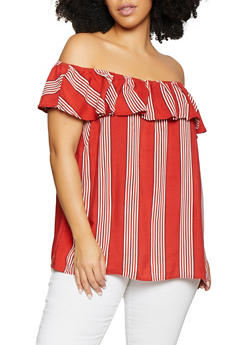 Plus Size Ruffle Striped Off the Shoulder Top | 1803051060667 - 1803051060667