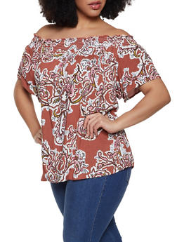 1aec9356653 Plus Size Smocked Neck Printed Top - 1803051060674