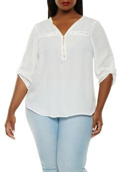 Plus Size Zip Front Blouse - 1803051060696