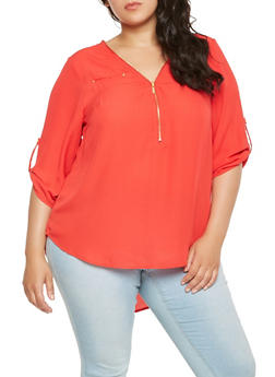 Plus Size Zip Front Blouse - 1803051060696