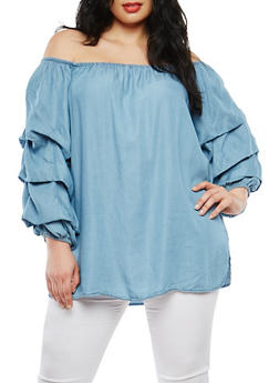 Plus Size Chambray Off the Shoulder Top - 1803051060706