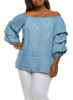 Plus Size Chambray Off the Shoulder Top - MEDIUM WASH - 1803051060706