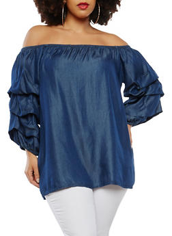 Plus Size Chambray Off the Shoulder Top - DARK WASH - 1803051060706