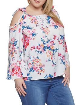 Plus Size Floral Cold Shoulder Top - 1803051060735