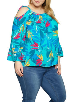 Plus Size Floral Cold Shoulder Top - Multi - Size 1X - 1803051060735