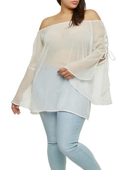 Plus Size Sheer Off the Shoulder Top - 1803051060798