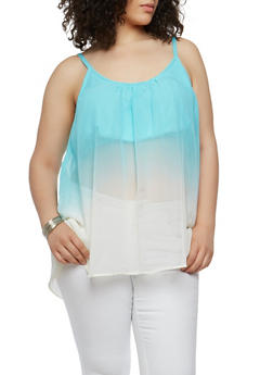 Plus Size Dip Dye Tank Top - 1803051060861