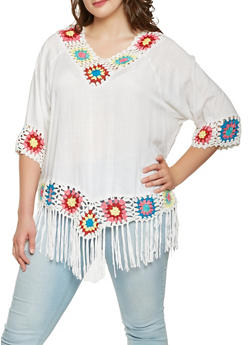 Plus Size Crochet Fringe Trim Top - 1803051060919