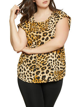 Plus Size Animal Print Blouse - 1803051060947