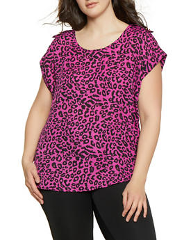 Plus Size Animal Print Blouse - MAGENTA - 1803051060947