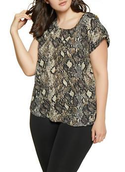 Plus Size Animal Print Blouse - MOCHA - 1803051060947