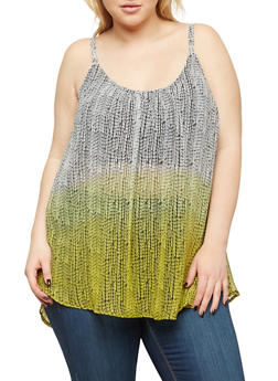 Plus Size Sheer Printed Sleeveless Top - 1803051060986