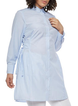 Plus Size Striped Tunic With Lace Up Details - BLUE - 1803051063514