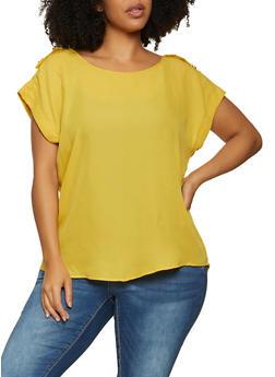 Plus Size Tabbed Shoulder Detail Blouse - 1803051063678
