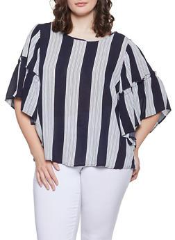ec96f69dbea Plus Size Striped Bell Sleeve Top - 1803051066051