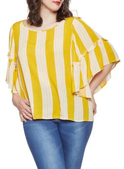 Plus Size Striped Bell Sleeve Top - 1803051066051