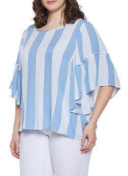 cc8e272027d51 Plus Size Striped Bell Sleeve Top - 1803051066051