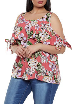 Plus Size Floral Tie Sleeve Cold Shoulder Top - Multi - Size 1X - 1803051066062