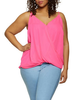 Plus Size Faux Wrap Sleeveless Top - 1803051066081