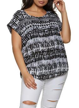 Plus Size Tabbed Shoulder Tie Dye Top - 1803051066140
