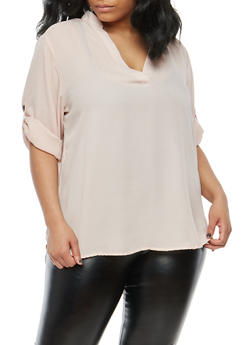 Plus Size Tabbed Sleeve Blouse - 1803051066873
