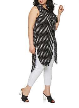 Plus Size Polka Dot High Low Tunic Shirt - 1803051066908