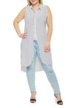 Plus Size Polka Dot High Low Tunic Shirt - 1803051066908