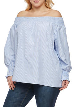 Plus Size Smocked Off the Shoulder Peasant Top - 1803051066927
