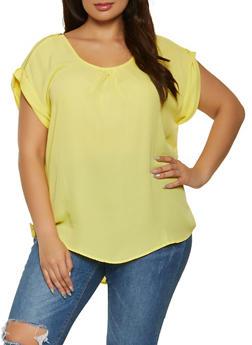 Plus Size Zip Shoulder Detail Blouse - 1803051066956