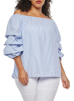 Plus Size Tiered Sleeve Off the Shoulder Top - 1803051066970