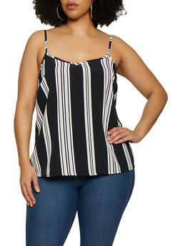 Plus Size Vertical Stripe Cami - 1803051067682