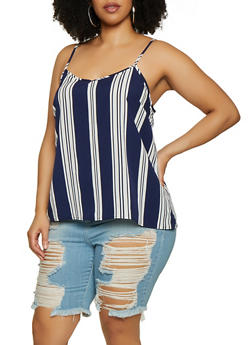 Plus Size Vertical Stripe Cami - 1803051067682