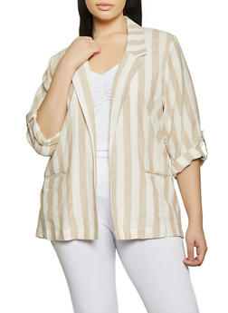 Plus Size Tabbed Sleeve Striped Linen Blazer - 1803051067725