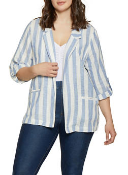 7e780b4c464bd Plus Size Tabbed Sleeve Striped Linen Blazer - 1803051067725