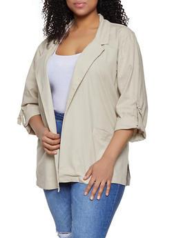 Plus Size Linen Tabbed Sleeve Blazer - 1803051067732