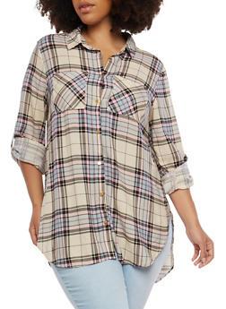 Plus Size Plaid Button Front Shirt - 1803051068381
